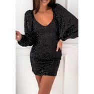 ROBE A SEQUINS DJABA NOIRE A MANCHES BOUFFANTES
