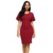 Robe Fourreau Fendue Rouge
