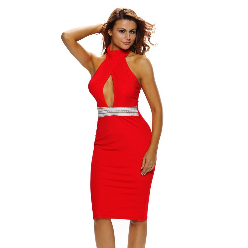 Robe LiLou Taille Mi-longue Rouge