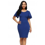 Robe Fourreau Fendue Bleu Royal